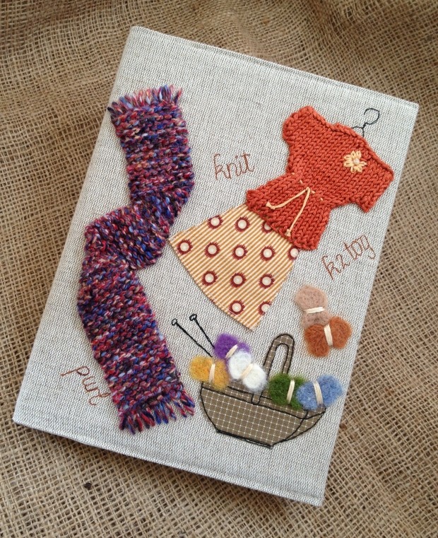 'Knitter's' Fabric covered notebook