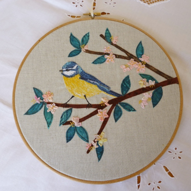 Hoop Art - Blue tit on cherry blossom