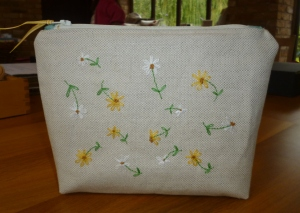 Linda's Hand embroidered cosmetic purse