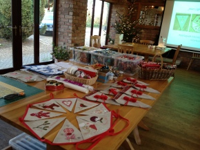 Set up ready for Christmas sewing workshop