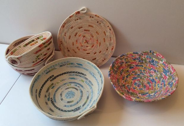 fabric covered rope baskets